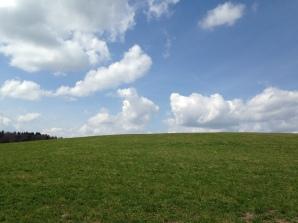 Wolkenweiß, himmelblau & grasgrün