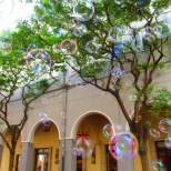 Seifenblasen tanzen durch die Luft